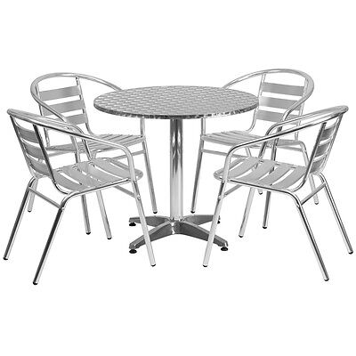 31.5'' Round Aluminum Indoor-Outdoor Restaurant Table with 4 Slat Back Chairs