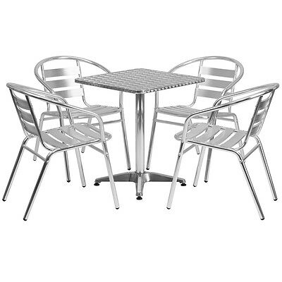 23.5'' Square Aluminum Indoor-Outdoor Restaurant Table with 4 Slat Back Chairs