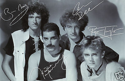 Queen Entire Group Autograph Signed Pp Photo Poster Freddie Mercury