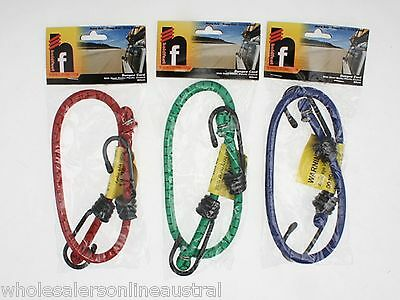 96 x Bungee Cord strap 60cm Steel Hooks 3 asstd colours Wholesale Lot