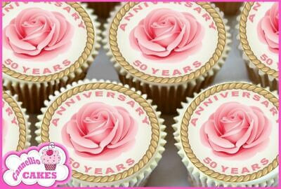 24 x 50 ANNVERSARY ROSA TOPPERS COMESTIBLES PARA CUPCAKE TARTA