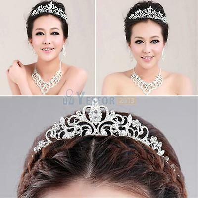 Princess Bridal Austrian Crystal Tiara Wedding Crown Headband Veil Hair Decor