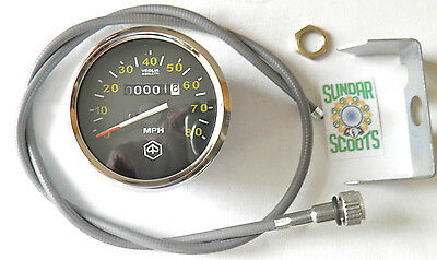 80mph/120kph SPEEDO.STAIN' STEEL RIM,BRACKET&CABLE.SUITABLE FOR VESPA AS LISTED