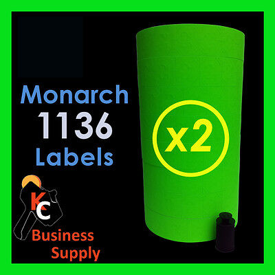 """20,000 /""""FLAT GREEN/"""" LABELS FOR THE MONARCH 1131 1 SLEEVE Free Shipping"""