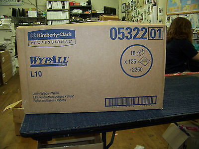 Kimberly Clark Wypall L10 Utility Wipes 18 Boxes, 125 per Box, 2250 Total 05322
