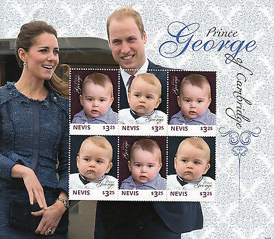 Nevis 2014 MNH Prince George of Cambridge 6v M/S Royal Baby Kate William