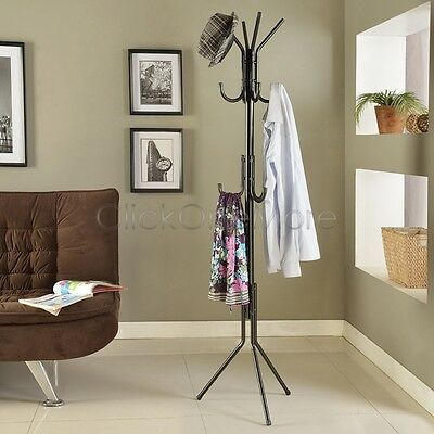 11 Hook Hat Coat Clothes Rack Umbrella Stand Tree Style Steel Hanger Black