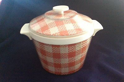vintage ice bucket canister cream orange woven fabric covered plastic HONG KONG
