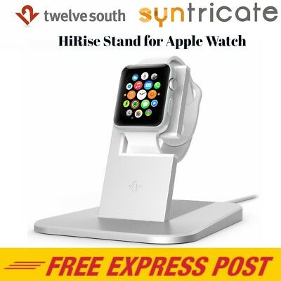 Genuine Twelve South HiRise Charging Metal Stand / Dock for Apple Watch- Silver