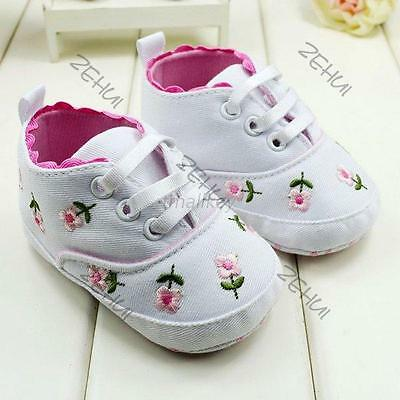 Cute Infant Walking Crib Shoes Newborn Baby Girls Floral Soft Sole Sneaker 0-12M