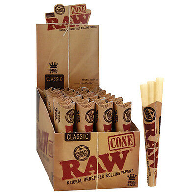 32 Full BOX RAW Classic King Size 110 mm Rolling Paper Cones