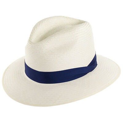 Olney Headwear Down-Brim Genuine Panama - Navy Band