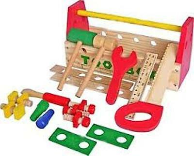 Fun Factory Wooden Tool Box with Tools Set Pretend Play Toy Fun Builder Hammer