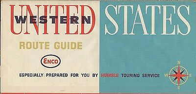 1963 ENCO HUMBLE Travel Service Road Map WESTERN UNITED STATES California Texas