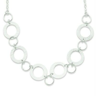 "Ladies .925 Sterling Silver Polished & Textured Fancy Circle 18"" Chain Necklace"