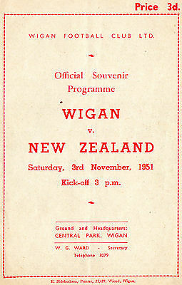 1951 - Wigan v New Zealand, Rugby League Programme