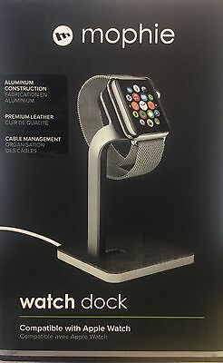 Mophie Watch Dock for Apple Watch all Models & Bands 38 / 42mm Aluminum Leather