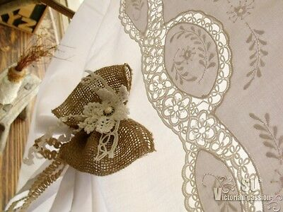 VTG. FRENCH *tatting Lace Rustic Burlap BOW door Curtain Tie Up Valance Balloon