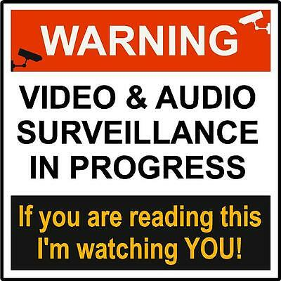 """""""WARNING VIDEO & AUDIO SURVEILLANCE"""" SIGN Peel & stick decal FOR WINDOW or Wall"""