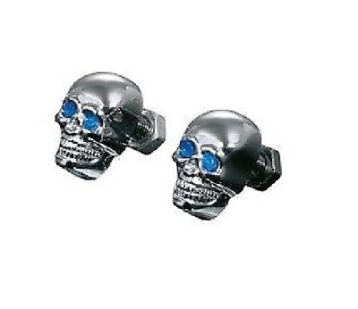 Pair Chrome 6mm Skull Nuts M6 Coloured Eyes Custom Finish Highway Hawk 03-103