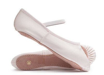Ladies & Girls Pink Satin Full Sole Dance Ballet Shoes All Sizes ECO By Katz
