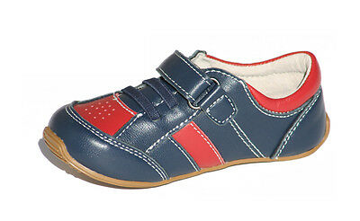 NEW Skeanie TRAINERS Navy Red Flexible Rubber Sole Leather Shoes Boys Sneakers