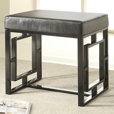 Contemporary Petite Black Bench with Decorative Base by Coaster 501154