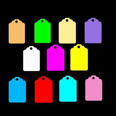 100 Small Classic Shaped Price Tags / Labels / Jewellery Display. All Colours