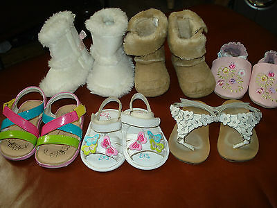 Lot of 6 Pairs of Baby Infant Girl Furry Boots, Slip On  and  Sandals Size 2