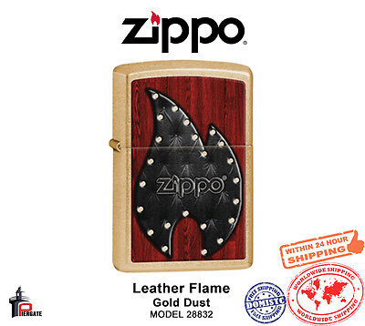 Zippo Leather Flame Lighter Gold Dust Classic USA Genuine Windproof 28832