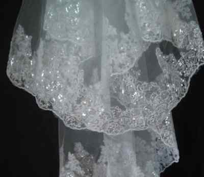 2t New White bridal Veil for wedding with embroidery and sparkles free comb