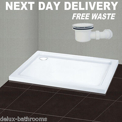 New 900x700mm Square Stone Shower Tray In Bath For Shower Enclosure Free Waste