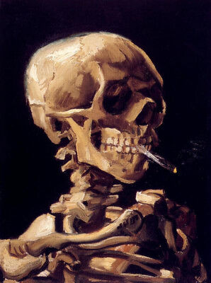 Skull With A Burning Cigarette by Vincent Van Gogh, Oil Painting Reproduction
