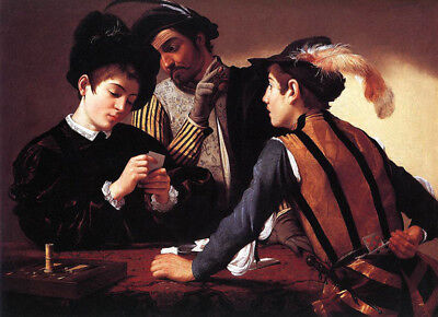"Cardsharps by Caravaggio, Hand Painted Oil Painting Reproduction, 36"" x 26"""