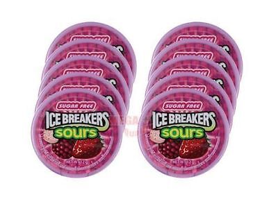 10x ICE BREAKERS Sours Berry Cherry Mix Strawberry Flavor Crystal Sugar Free 12g