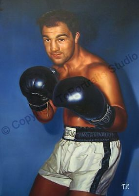 Rocky Marciano - Original Hand Painted Boxing Poster Oil Painting on Canvas Art