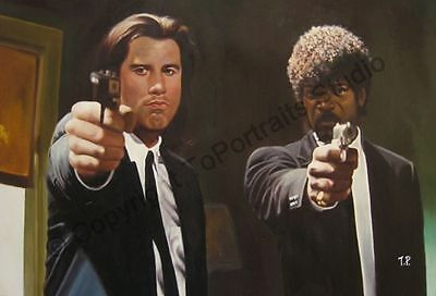 Pulp Fiction (Jules and Vincent) - Original Hand Painted Oil Painting on Canvas