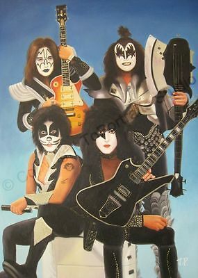 Kiss Rock Band with Guitars - Original Handmade Poster Oil Painting on Canvas XL