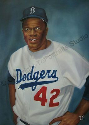 Jackie Robinson, Los Angeles Dodgers - Original Hand Painted MLB Oil Painting XL