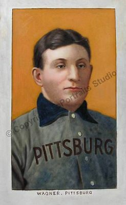 Honus Wagner, Pittsburgh Pirates T206 Card - Original Hand Painted Oil Painting