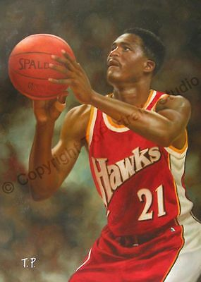 Dominique Wilkins Atlanta Hawks - Original NBA Poster Oil Painting on Canvas XL