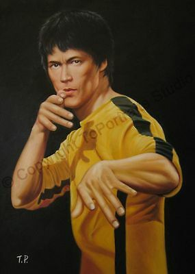 Bruce Lee, The Dragon, Kung Fu Uniform - Original Hand Painted Oil Painting XL