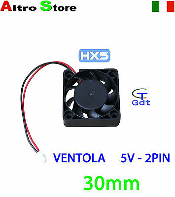VENTOLA 30MM 2 PIN RAFFREDDAMENTO PC NOTEBOOK LAPTOP 5V 26dBA 11000RPM  4.12CFM