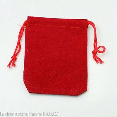 12 x Velvet Jewelry Draw String Bags pouches Red 7x5cm (C001-50x70mm-2)