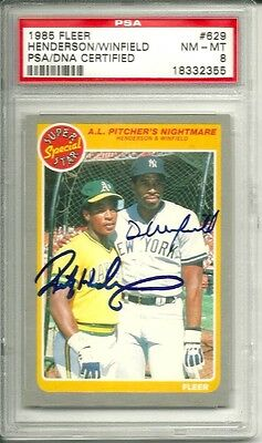 1985 Fleer Rickey Henderson & Dave Winfield Signed Card Dual Autograph Psa/dna