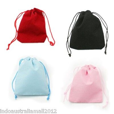12x Small Velvet Jewelry Draw String Bags pouches 4 Colors 7x5cm (C001-50x70mm)