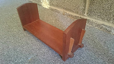 Retro Teak Bookend Or Book Tidy  With Wooden Pegs