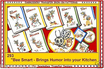 Bee Smart Bumble Bee Embroidery Transfers pattern IRON-ON # 293