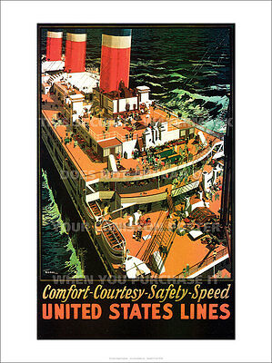 "UNITED STATES LINES POSTER 24 x 18"" ULTRAPRINT PHOTO PICTURE IMAGE"