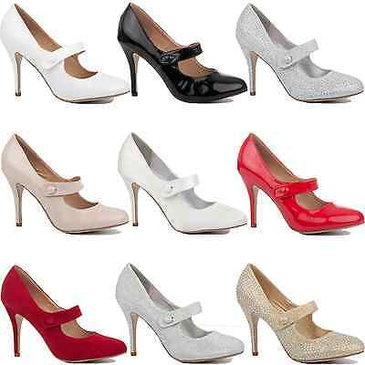 Womens Ladies Mid High Stiletto Heel Wedding Bridal Party Pumps Court Shoes Size